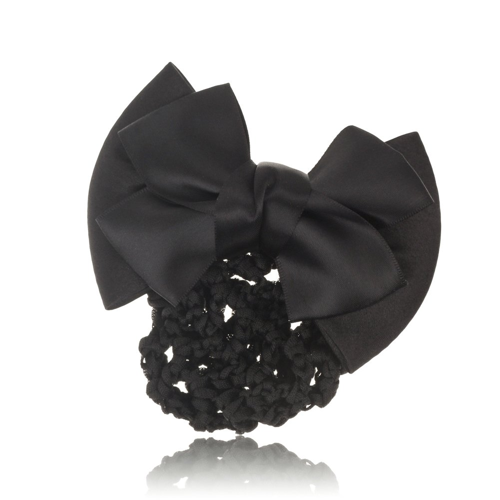 So Beauty Lady's Pleated Hair Bow with Hairnet and French Barrette Black