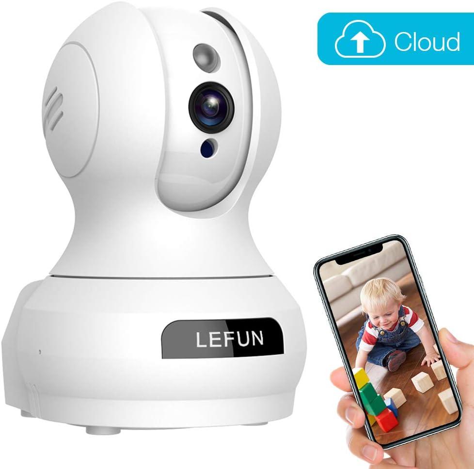 Lefun Caméra de sécurité IP sans fil avec détection de mouvement Vision nocturne 2 voies Audio Pan/Tilt/Zoom Supporte 2,4 G Wi-Fi pour surveillance à domicile Bébé/aîné/animal domestique (C-Blanc), A - Blanc