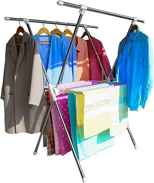 Folding Laundry Hanger Drying Rack Storage Clothes Dryer Room Heavy Duty X Frame