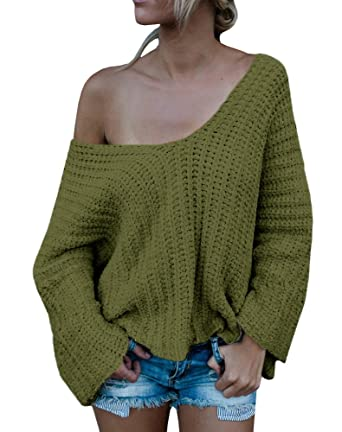 abc1b6355 Beautife Women Long Sleeve V Neck Off The Shoulder Loose Knit Sweater  (Small