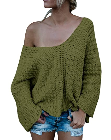 Beautife Womens Long Sleeve V Neck Off The Shoulder Loose Knit