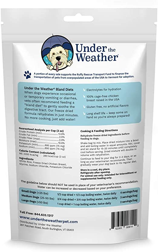 Under The Weather Pets Easy To Digest Bland Dog Food Diet Sick Dogs Sensitive Stomachs Electrolytes Gluten Free All Natural Freeze Dried 100 Human Grade Meat Rice Chicken