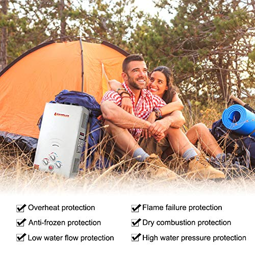 Camplux 10L Outdoor 2.64 GPM Digital Display Portable Propane Gas Tankless Water Heater