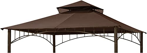 Eurmax 10FT x 10FT Double Tiered Gazebo Replacement Canopy Roof Top Brown