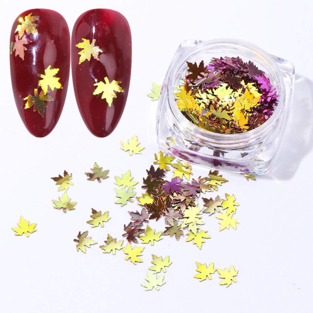 Nail Sequins Maple Leaf Sequins Nails Art Glitters Thin Paillette Flakes Stickers Gradient, 5 Boxes