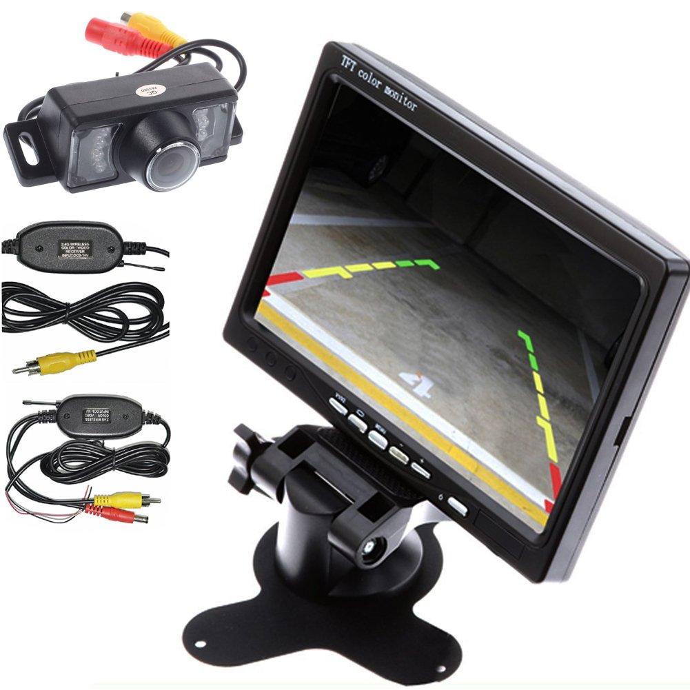 Wireless Transmitter/Receiver HD Waterproof Car Rear View Camera Night Vision Car Parking Backup Camera+7 Inch Car Monitor Car Rearview Screen/Mirror