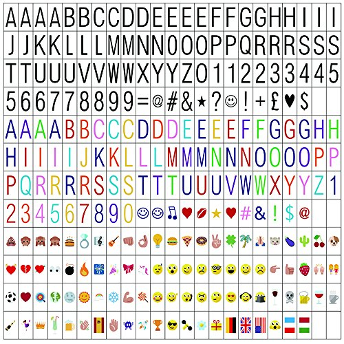 ME456 270 Black Letters, Pastel Colour Letters, Pastel Colour Emojis and Special Decorative Symbols for Use with A4 Cinematic Light Up Box