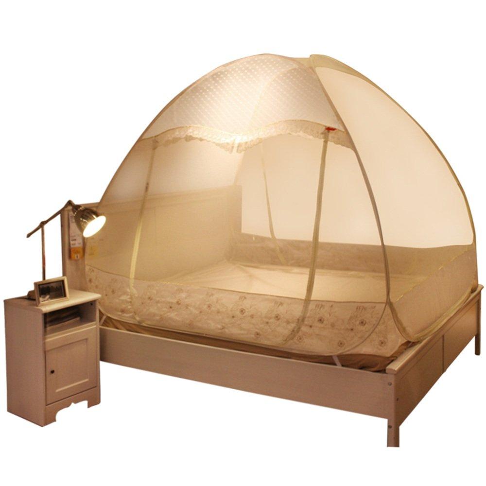 Moskitonetze MEIDUO Free Installation Mosquito Net Drei-Türer Dome Reißverschluss 1,2m, 1,5m Bett
