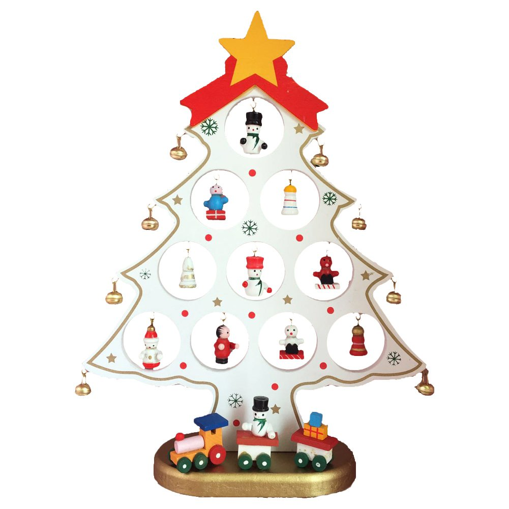 """Wekee DIY 9.8""""x 7.8"""" Wooden Mini Christmas Tree Desk Decoration Home Xmas Ornament for Party, Club, Children's Gift,White"""