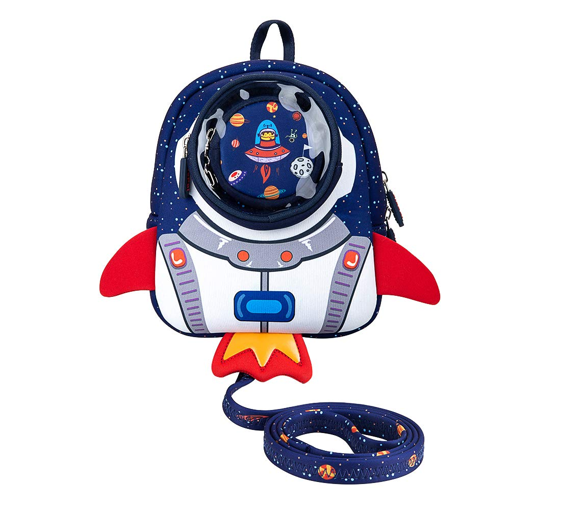 JiePai Rocket Toddler Backpack with Harness Leash 3D Cartoon Snack Nursery Backpack for Kids Boys Girls 1-3 Years Old (Rocket-Blue)