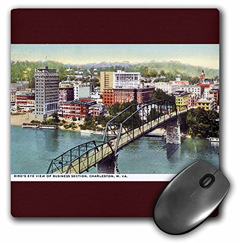 3dRose LLC 8 x 8 x 0.25 Inches Mouse Pad, Birds Eye View of Business Section Charleston West Virginia (mp_170925_1) (Birdseye View Business)