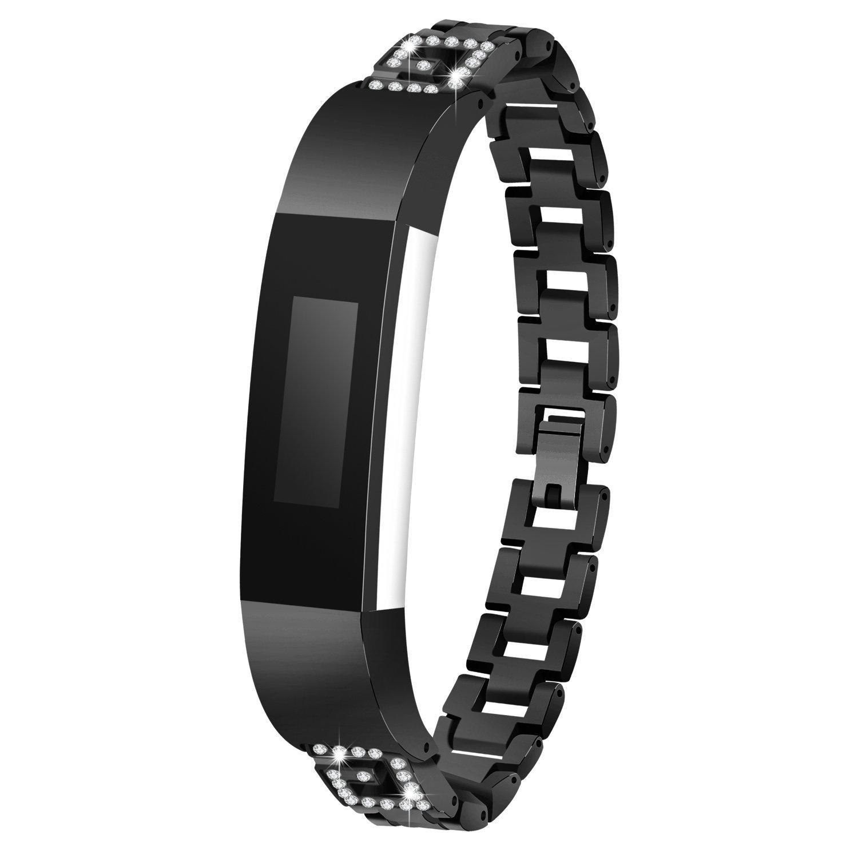 時計ベルトfor Fitbit ALTAアルタ/ HR、btchoice新しいデザインg-shapeステンレススチール交換用バンドブレスレットリストバンドfor Fitbit ALTAアルタ/ HRハートレートトラッカー  ブラック B077Z7WR1C