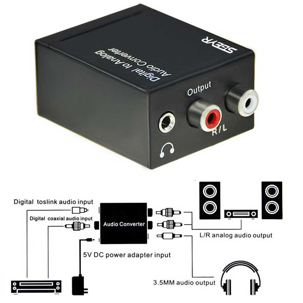 Amazon.com: Digital Optical Toslink Coaxial to Analog RCA Audio Converter with or without 3.5mm Jack,192Khz 24-bit DAC Converter: Home Audio & Theater