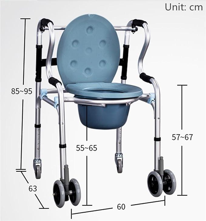 XYLUCKY Aluminio Tránsito móvil Cómoda móvil Cómoda Silla de ruedas con ruedas Transportes Cuarto de baño Asiento del asiento Discapacidad Movilidad Ayuda ...