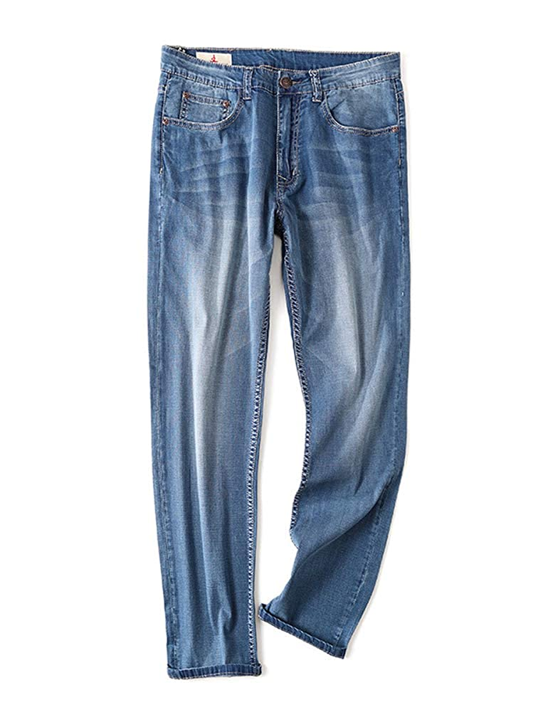 IDEALSANXUN Men/'s Thin Jeans Straight Leg Denim Pants