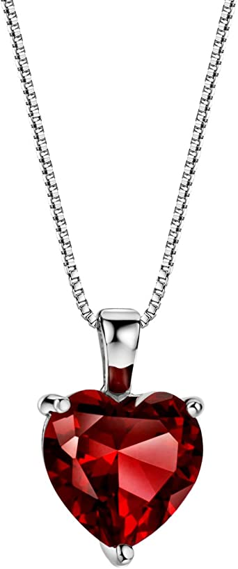Sterling Silver Womens 1mm Box Chain January Simulated Birthstone Girl Baby Pendant Necklace