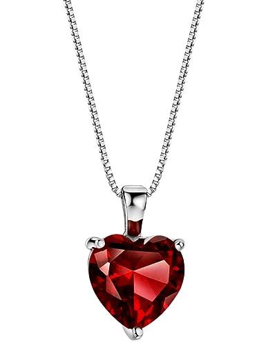 7fa66f14a3ba6d 3.6 cttw Rhodolite Garnet Necklace Heart Pendant Sterling Silver January  Birthstone Jewelry for Women 16-