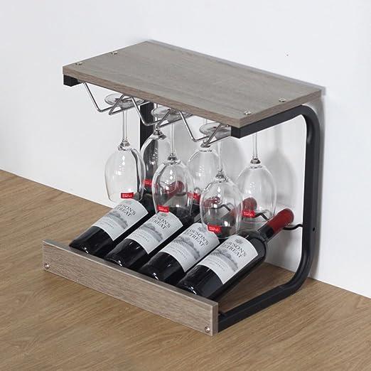 JIEJIEDE Creativos estantes de Vino de Mesa de Madera,Estantes de ...