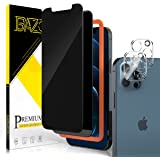 BAZO 2 Pack Privacy Tempered Glass Screen Protector + 2 Pack Camera Lens Protector Tempered Glass Compatible with iPhone 12 P