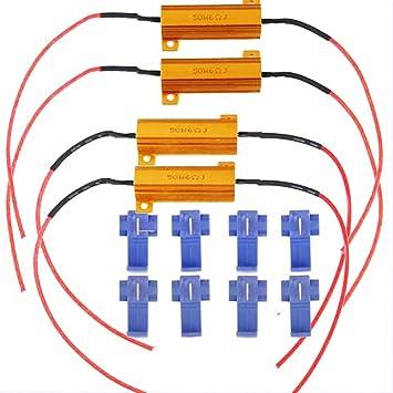 4PCS 50W 6ohm LED D/écodeur de R/ésistance de Charge Fixe Ampoule LED Clignotant Sans Erreur Pour Clignotant Ampoule Diurne Feux LED Plaque dimmatriculation