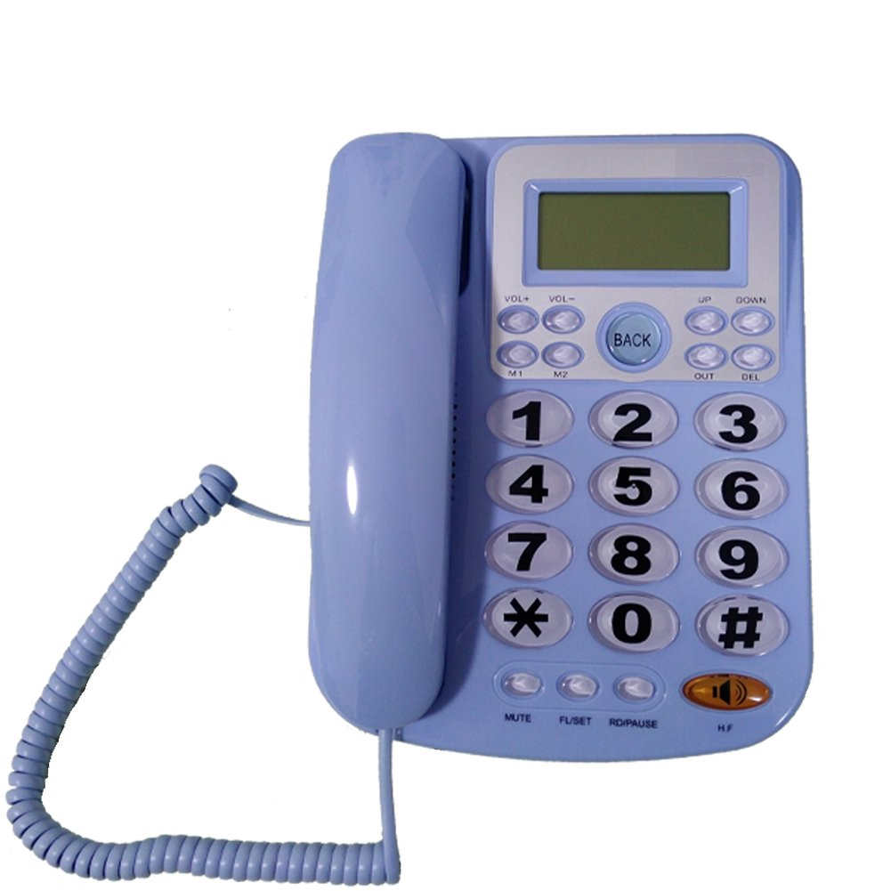 LeeKerTel Big Button Corded Phone for Elderly with Caller ID Speed Dial Alarm Function Landline Telephone for Seniors(P034Blue)