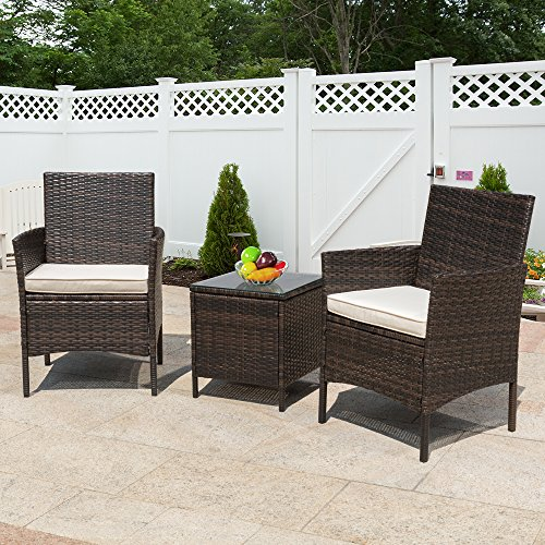 Flamaker 3 Pieces Patio Furniture Set Modern Outdoor Furniture Sets Clearance Cushioned PE Wicker Bistro Set Rattan Chair Conversation Sets with Coffee Table (Brown Wicker) by Flamaker (Image #5)'