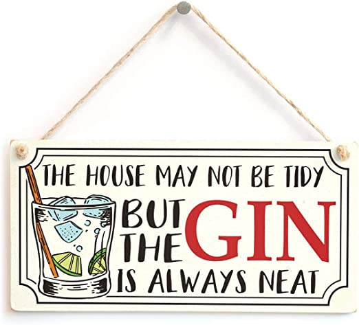 Door Sign PERSONALISED Gin Palace House Plaque Rustic Wood Gift Shabby Chic