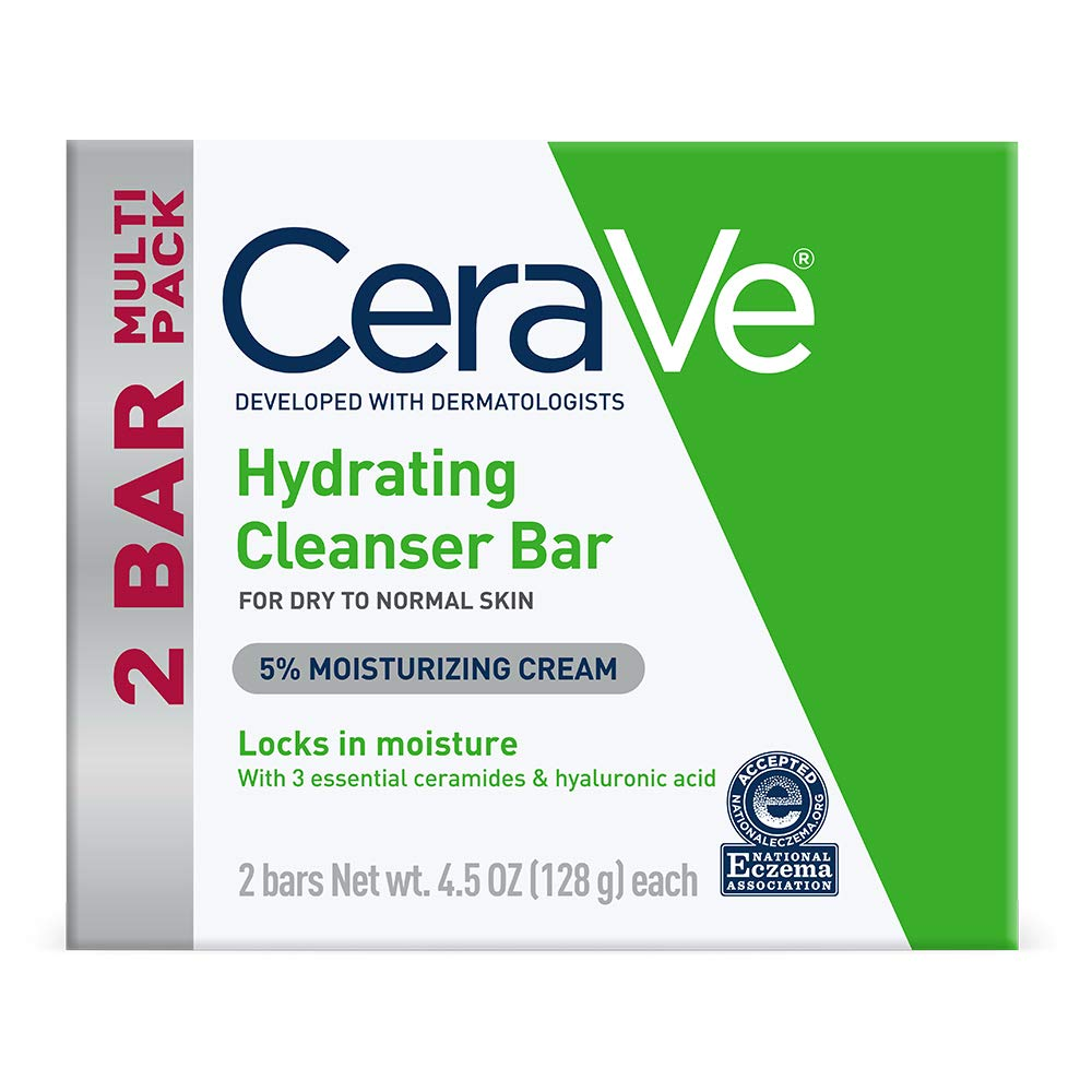 CeraVe Hydrating Cleanser Bar | Soap-Free Body and Facial Cleanser with 5% Cerave Moisturizing Cream | Fragrance-Free | 2-Pack, 4.5 Ounce Each