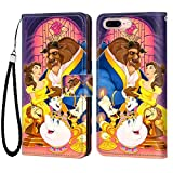 DISNEY COLLECTION iPhone 7 Plus iPhone 8 Plus Wallet Flip Leather Case, Beauty and The Beast Elegant Luxury Fashion PU Leather Shockproof Wallet Case with Lanyard ID&Credit Card Pocket 5.5 inches