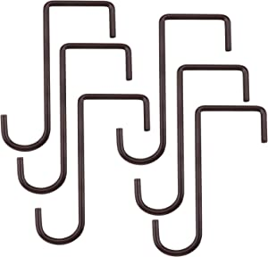 ESFUN 6 Pack 3 X 8 inch Brown Patio Hanging Hooks Hanger Great for Fence Pergola Balcony Hanging Planter, Outdoor Lights, Wind Chime, Bird feeders,Crafts or Other Patio Tools