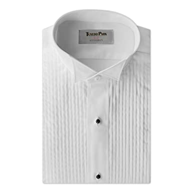 Tuxedo Shirt White Wing Collar 14 Pleat At Amazon Mens Clothing