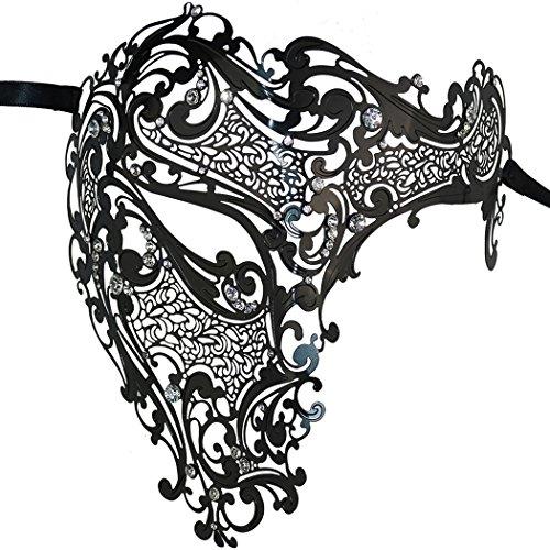 Thmyo Luxury Mysterious Half Face Mask Masquerade Rhinestone Laser Cut Halloween Costume Party Mask (Black) -
