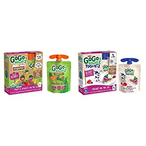 GoGo squeeZ Organic fruit & veggieZ, Apple Mixed Berry Carrot, 3.2 Ounce (4 Pouches), Gluten Free & YogurtZ, Berry, 3 Ounce (4 Count), Low Fat Yogurt, Gluten Free, Healthy Snacks, Recloseable