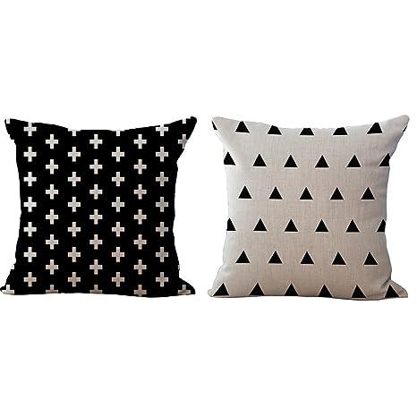 BQ Funda de cojín estilo nórdico negro blanco abstracto ...