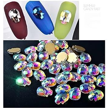 Amazon.com  10pc Halloween Skull Head 3D Flat Back Glass Crystal Nail Art  Decoration DIY Nail Rhinestones Charm Jewelry Glitter Nail Tools (Ju790)   Beauty f74b88b14f70