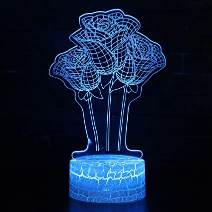 Amazon.com: QIANDONG1 3D Led Lamparas Flower Rose Light ...