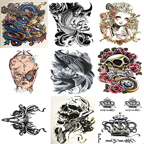 Temporary Tattoos Arm, Body ,Chest ,Back Tattoo Sticker for Men and Women 9 Sheets (Dragon,Skull Head,Fish,Butterfly Face,Crown,Doll,Fire Sheep Head) - Wolf Costume Eye Makeup