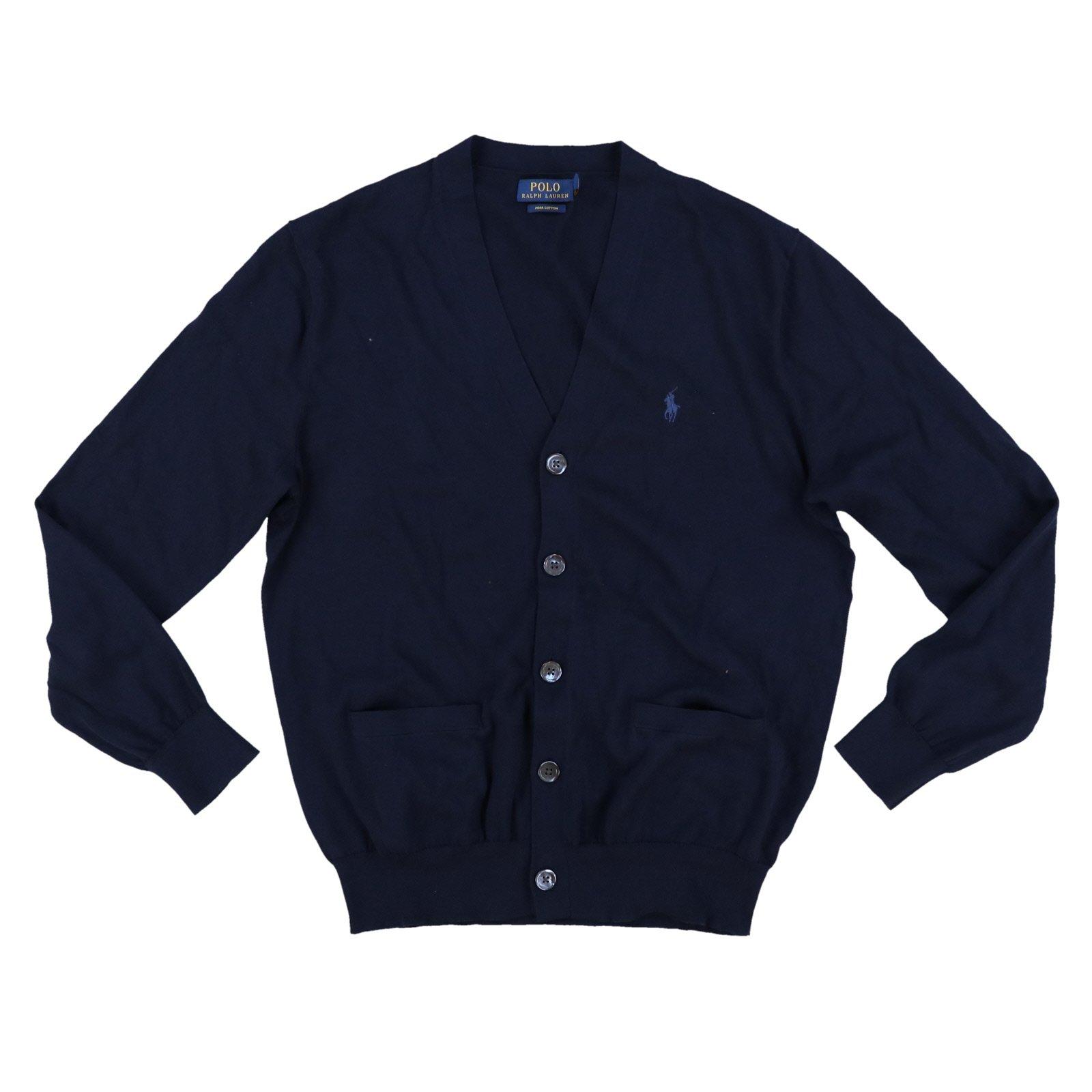 Polo Ralph Lauren Mens Pima Cotton Cardigan Sweater (XX-Large, Hunter Navy)
