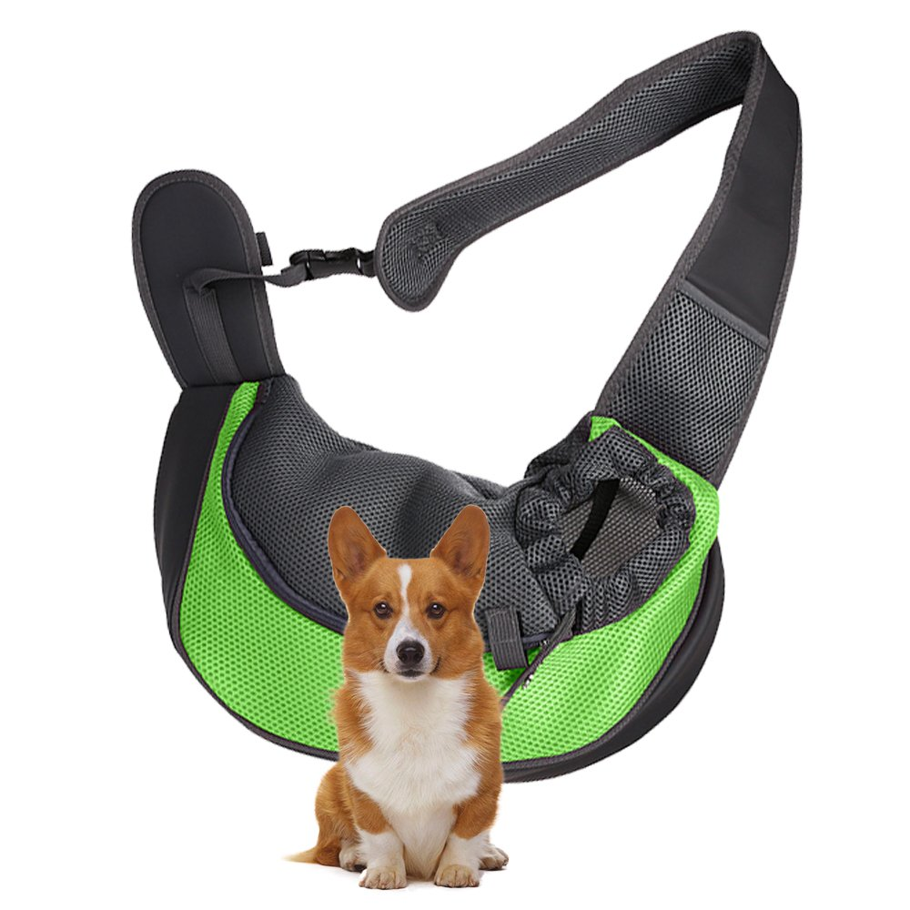 ROOSSI Portable Pet Shoulder Bag Travel Small Dogs Puppies Backpack Animal Sling Carrier Green