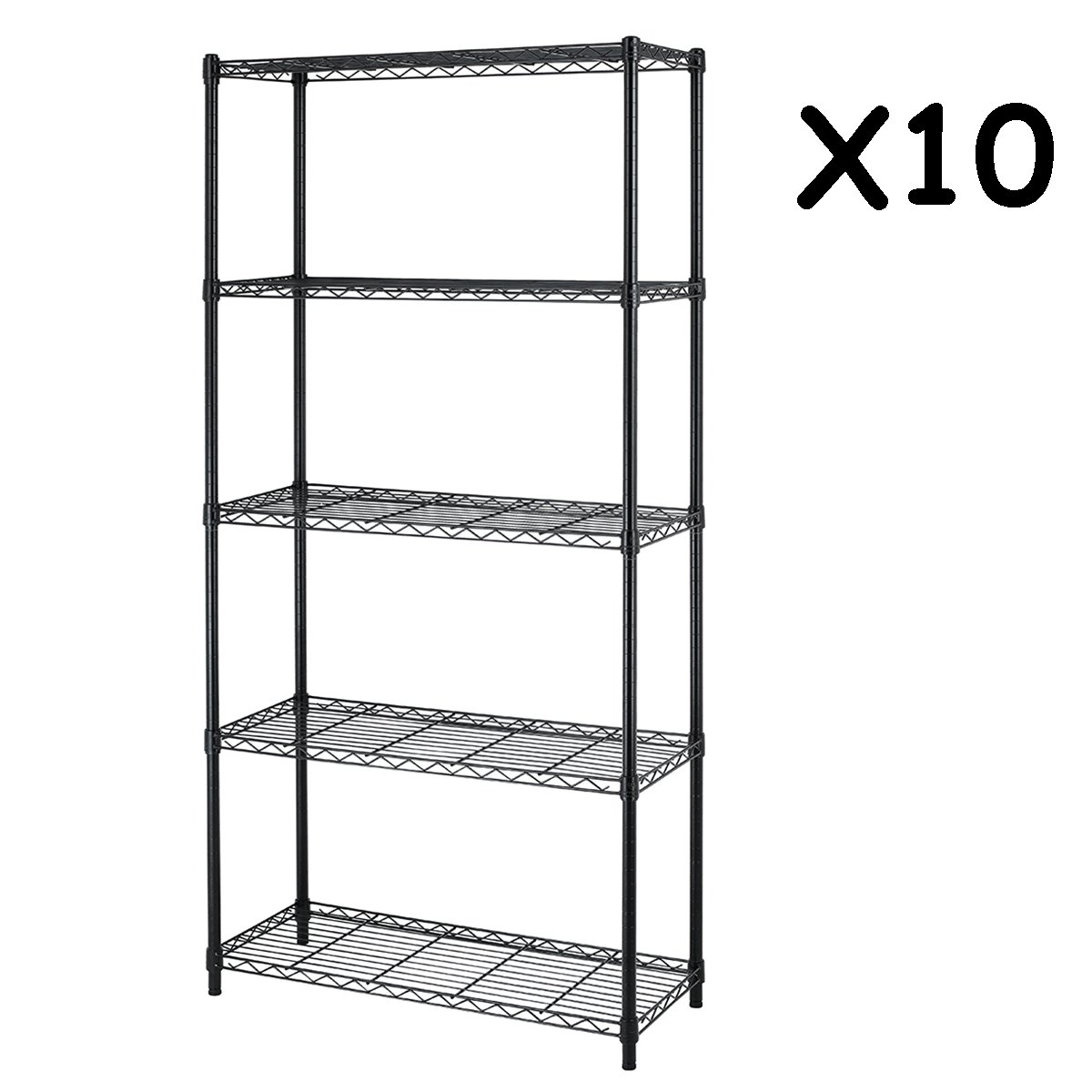 5-Shelf Steel Wire Tier Layer Shelving 72''x36''x14'' Storage Rack,Black,10 pcs