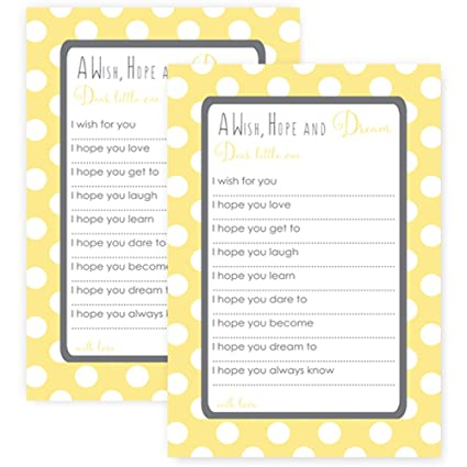 Amazon Paper Clever Party Yellow Wishes For Baby Shower Game