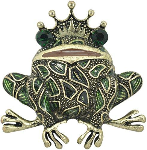 Gyn&Joy Brass Tone Peridot Green Colored Rhinestone Crystal Happy Frog King Brooch Pin BZ099