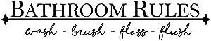 "Vinyl Wall Art Decal - Bathroom Rules - 5"" x 23"" - Modern Cute Fun Quote Sticker for Home Bathroom Kids Room Restaurant Restroom School Office Store Decor"