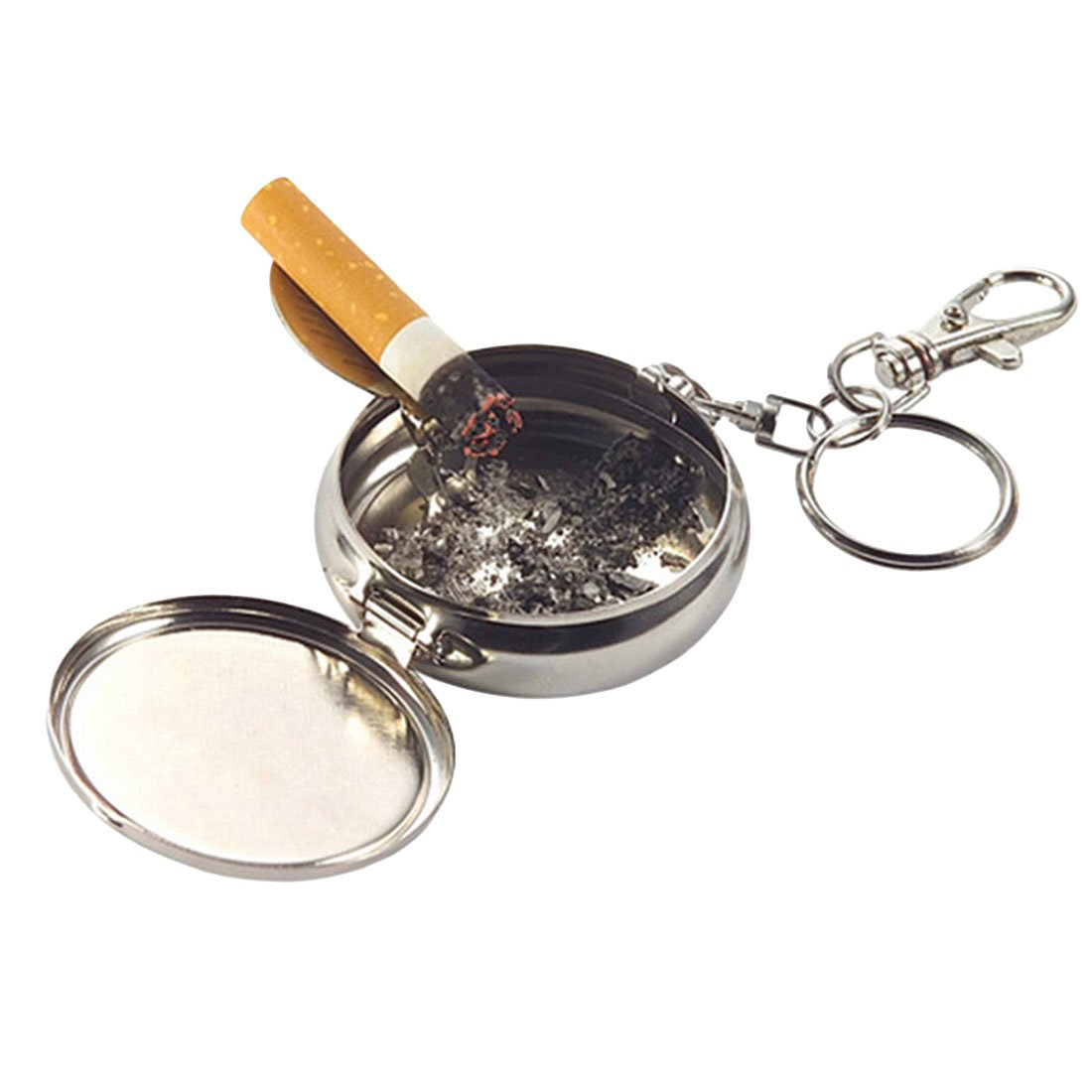 Doyime Portable Ashtray Stainless Steel Ashtray Random Exquisite Pattern with Key Ring