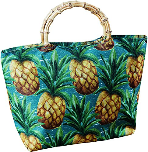 Insulated Reusable Stylish Durable Lunch Tote Canvas Bag Carrier Pineapple Aloha Meal Prep Cooler and Thermal Box Food Storage Container Fresh Frozen Leftover Takeout Food Easy Work Sandwich Organizer