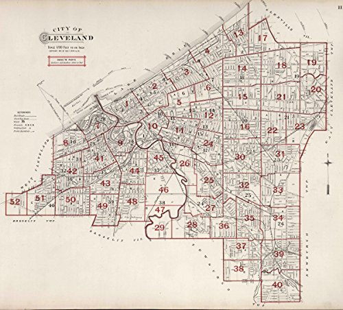 Historic Map | 1892 County Atlas | Index Map: City of Cleveland. | Historical Antique Vintage Decor Poster Wall Art | 44in x 40in