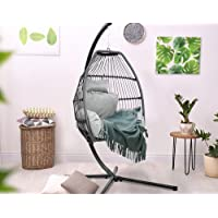 Hanging Egg Chair-Gardeon Outdoor Hammock Chair Garden Patio Swing Chair Heavy Duty-Grey