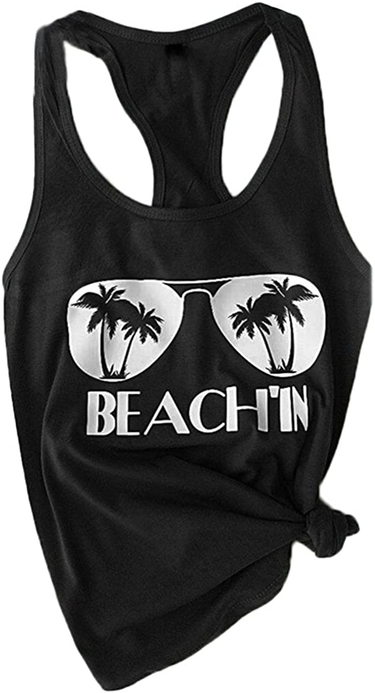 Vest and Camis for Women BXzhiri Fashion Beach Print Casual Tank Top Blouse Sleeveless O Neck T-Shirt