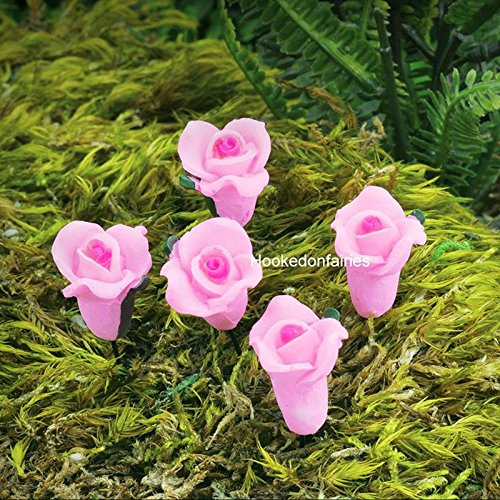 Miniature Pink Rose Flower Picks Set 5 Fairy Garden Dollhouse Terrarium GO 17442 - My Mini Fairy Garden Dollhouse Accessories for Outdoor or House Decor