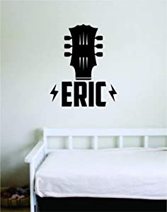 Custom Guitar Name Wall Decal Sticker Vinyl Art Bedroom Living Room Decor Decoration Teen Quote Inspirational Boy Girl Baby Music Instruments Rock Acoustic Electric Band Customized Personalized